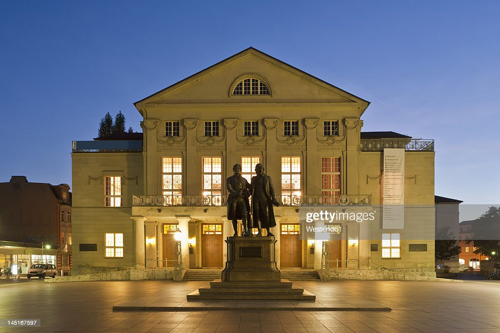 Germany, Thuringia, Weimar, View of monument in front of German National Theatre