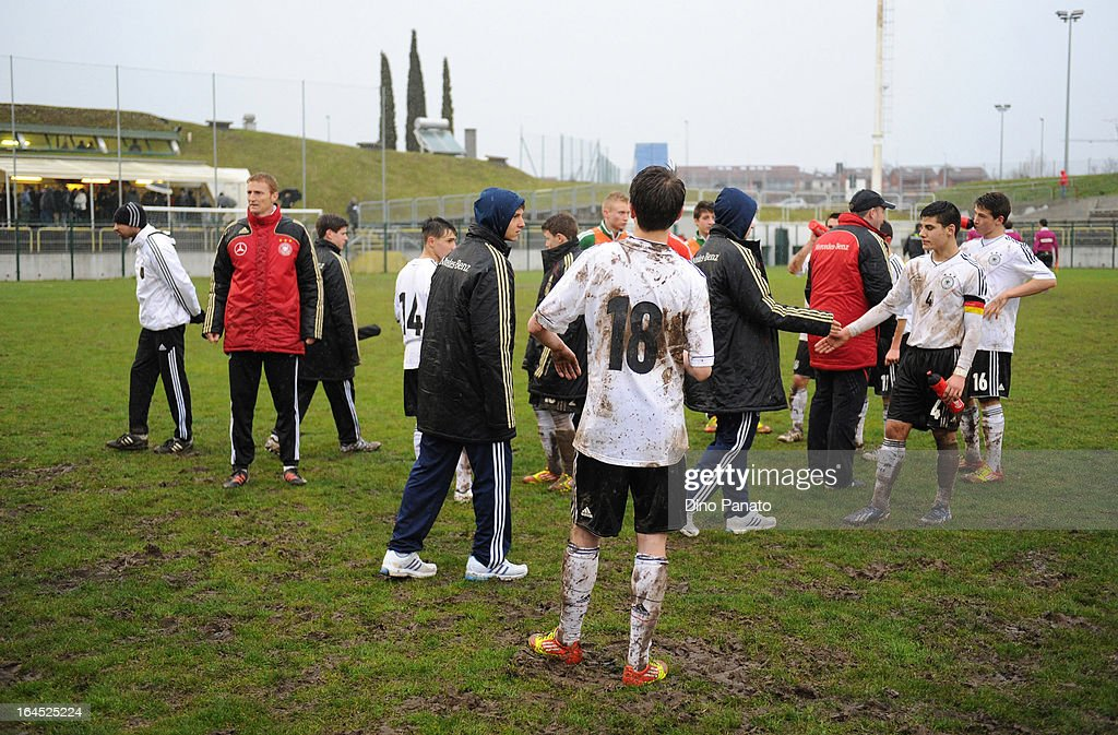 Germany U15 celebrates after the International U15 Tournament match between U15 Germany and U15 Italy at Stadio Tognon on March 24, 2013 in Fontanafredda, Italy.