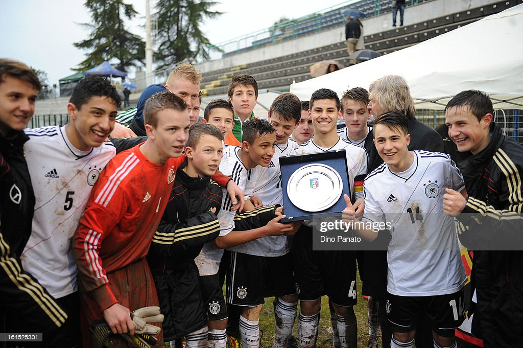 Germany U15 celebrates after victory the International U15 Tournament match between U15 Germany and U15 Italy at Stadio Tognon on March 24, 2013 in Fontanafredda, Italy.