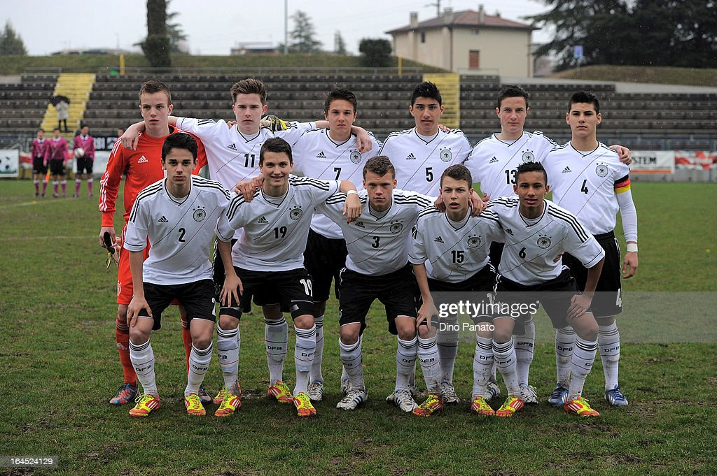 Germany U15 players pose for a team photograph prior to the International U15 Tournament match between U15 Germany and U15 Italy at Stadio Tognon on March 24, 2013 in Fontanafredda, Italy.