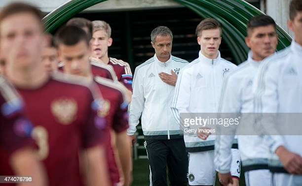 Germany U17 Head Coach Christian Wück arrives at the pitch prior the UEFA European Under17 Championship Semi Final match between Germany U17 and...