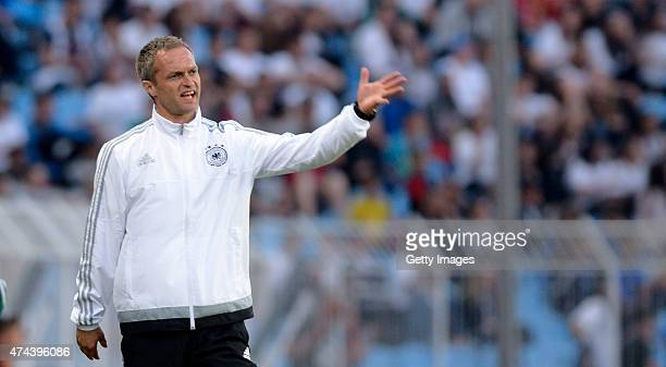 Germany U17 Head Coach Christian Wück gestures during the UEFA European Under17 Championship Final match between Germany U17 and France U17 at Lazur...
