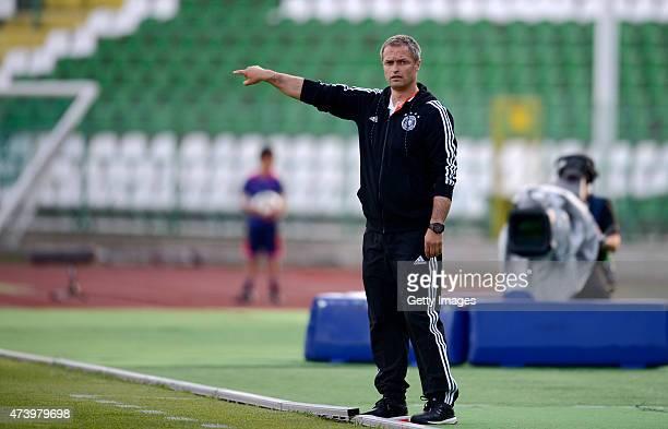 Germany U17 Head Coach Christian Wück gestures during the UEFA European Under17 Championship Semi Final match between Germany U17 and Russia U17 at...