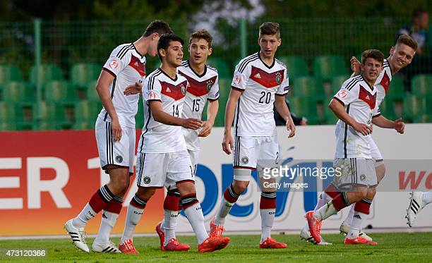 Germany U17 players celebrate the goal of Görkem Saglam during the UEFA European Under17 Championship match between Germany U17 and Czech Republic...