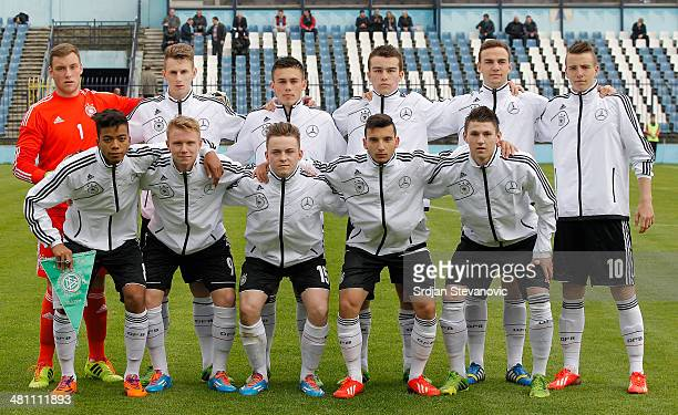 Germany U17 team poses prior the UEFA Under17 Elite Round between Germany and Ireland at Stadion FC Obilic on March 28 2014 in Belgrade Serbia