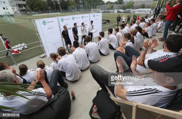 Germany U18 coach Guido Streichsbier and Germany U16 coach Michael Feichtenbeiner perform a show training for DFB junior coaches on September 4 2017...