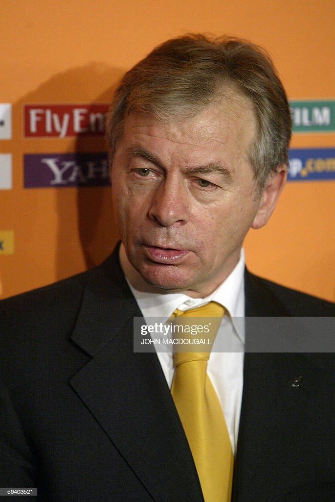 Ukraine?s head coach Oleg Blokhin poses for photographers after the final draw of the Fifa World Cup 2006 in Leipzig 09 December 2005. World Cup holders Brazil and the other 31 nations competing in next year's finals learned their first-round opponents when the draw was made in a star-studded ceremony.