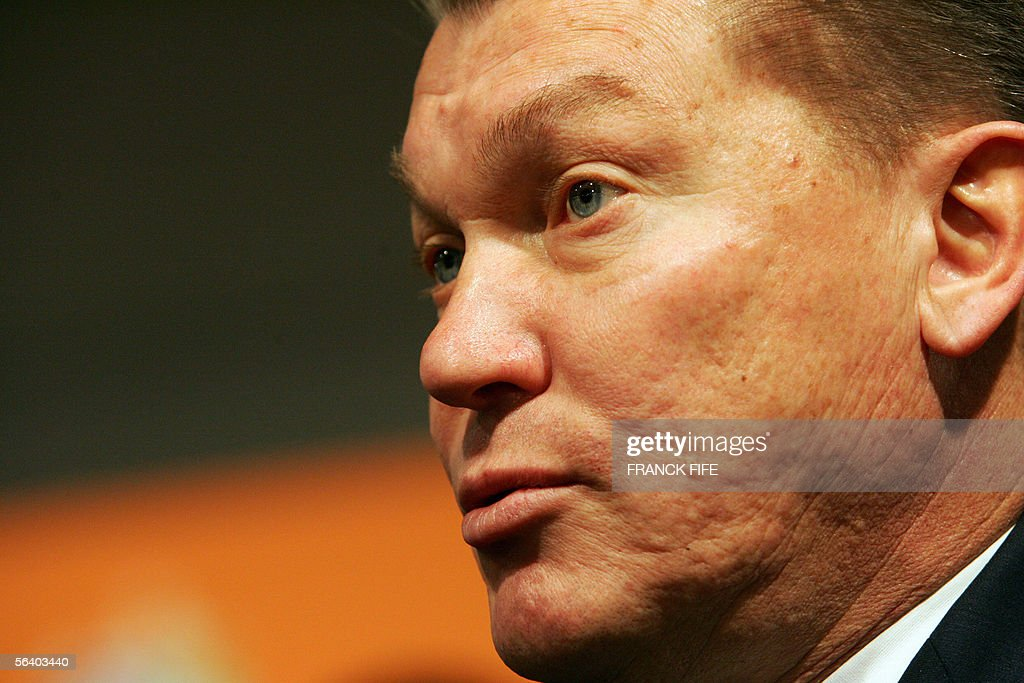 Ukraine's head coach Oleg Blokhin speaks to journalists 09 December 2005 in Leipzig, after the final draw ceremony of the 2006 World Cup running from 09 June to 09 July 2006 in Germany. The 32 nations competing in next year's finals learnt their first-round opponents.