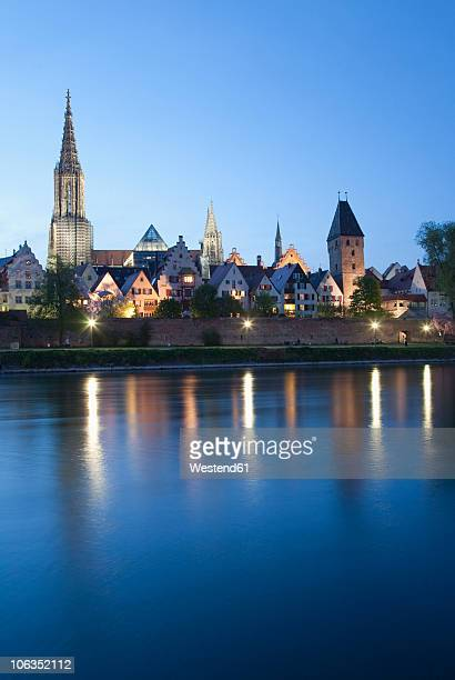 Germany, Ulm, View of city with danube river in foreground