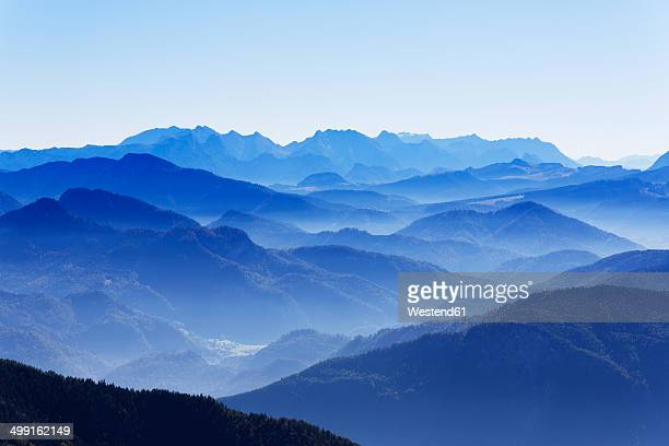 Germany, Upper Bavaria, Bavaria, Chiemgau Alps, Aschau, View from Kampenwand, in the background Watzmann and Steinernes Meer
