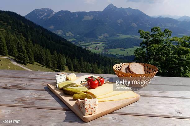Germany, Upper Bavaria, Bavaria, Mangfall Mountains, Bayerischzell, Cheese Platter