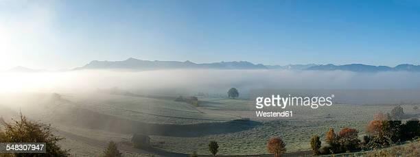 Germany, Upper Bavaria, Pfaffenwinkel, autumn fog near Aidling, Panorama