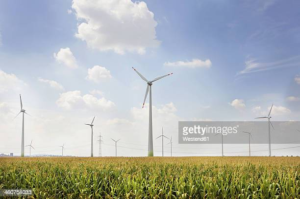 Germany, View of wind turbine on field