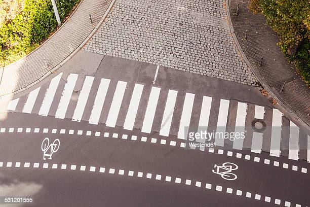 Germany, view to zebra crossing and bicycle lane from above