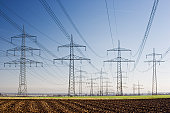 Germany, Westphalia, electricity pylons