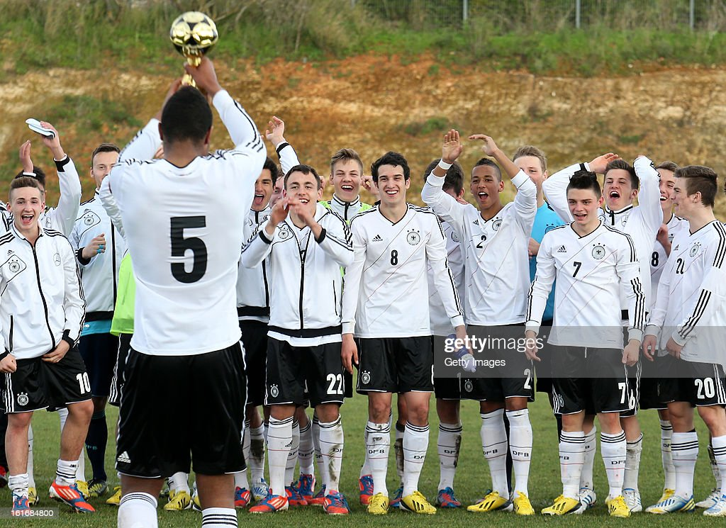 Germany win the Under17 Algarve Youth Cup match between U17 Portugal and U17 Germany at the Stadium Bela Vista on February 12, 2013 in Parchal, Portugal.