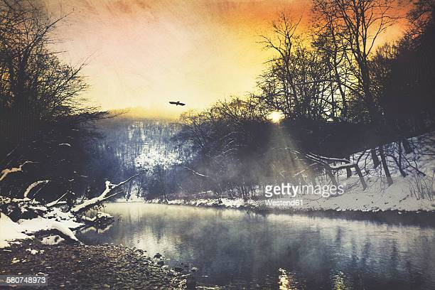 Germany, winter atmosphere at sunrise, Wupper river near Remscheid, digitally manipulated
