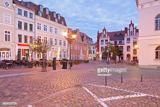 Germany, Wismar, market square at twilight
