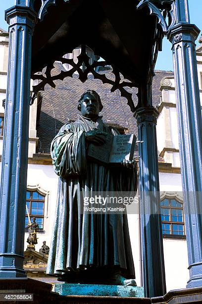 Germany Wittenberg Market Square Statue Of Martin Luther