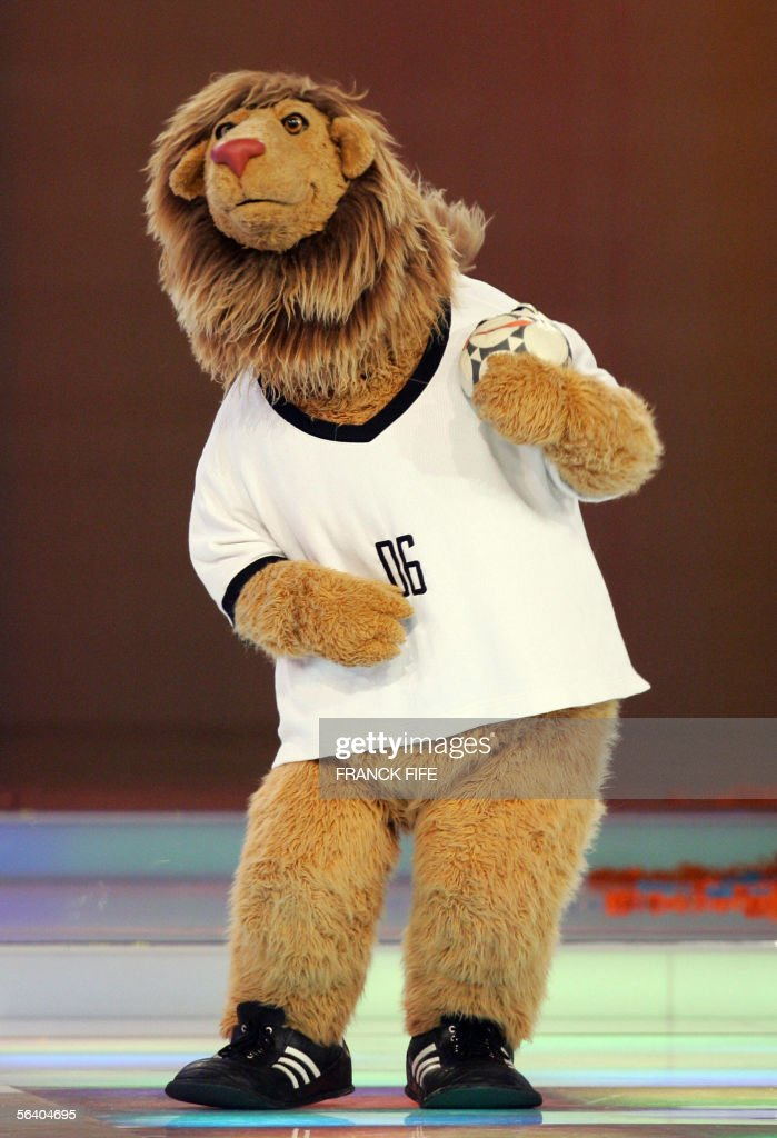 World Cup mascot Goleo VI dances on stage, 09 December 2005 in Leipzig, during the final draw ceremony of the 2006 World Cup running from 09 June to 09 July 2006 in Germany. The 32 nations competing in next year's finals will learn their first-round opponents when the draw is made in a star-studded ceremony.