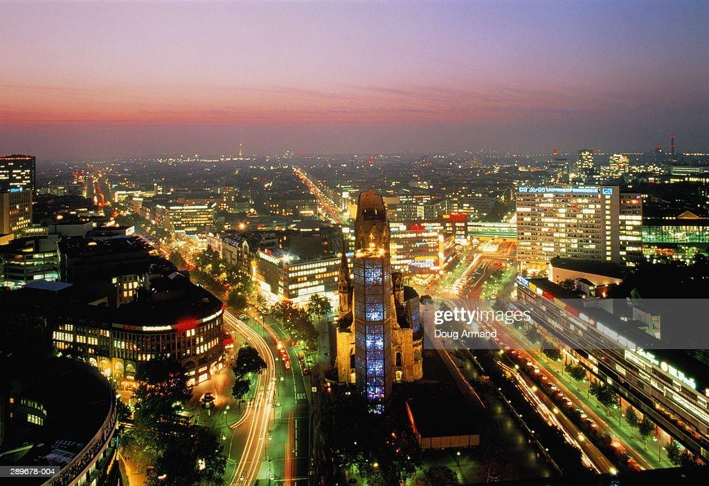 Germany,Berlin,Kaiser Wilhelm Memorial Church and Ku'damm at dusk : Stock Photo