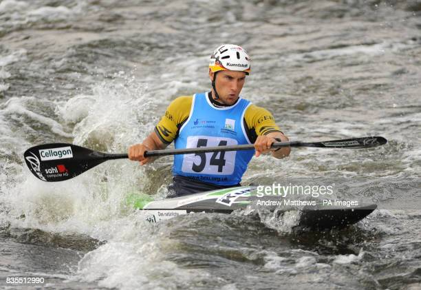 Germany's Alexander Grimm in action during the Men's K1 Qualifications during the European Slalom Championships at Holme Pierrepont Nottingham