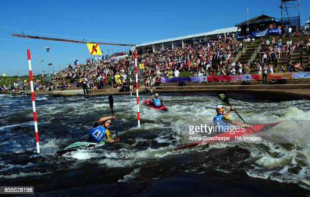 Germany's Alexander Grimm Sebastian Schubert and Tim Maxeiner in action in the Kayak Men's Team Final during the European Slalom Championships at...