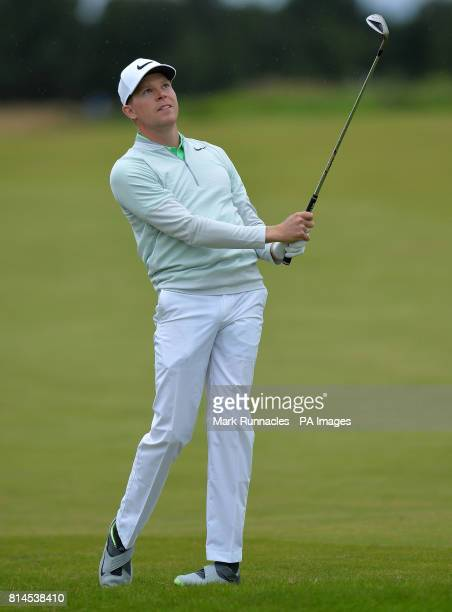 Germany's Alexander Knappe plays his second shot to the 18th hole during day two of the 2017 Aberdeen Asset Management Scottish Open at Dundonald...