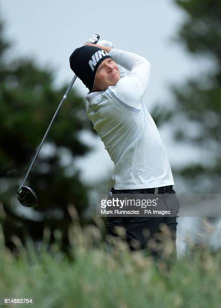 Germany's Alexander Knappe plays his tee shot to the7th hole during day three of the 2017 Aberdeen Asset Management Scottish Open at Dundonald Links...