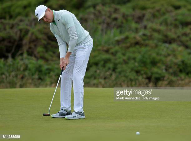 Germany's Alexander Knappe putting at the 18th hole for birdie during day two of the 2017 Aberdeen Asset Management Scottish Open at Dundonald Links...