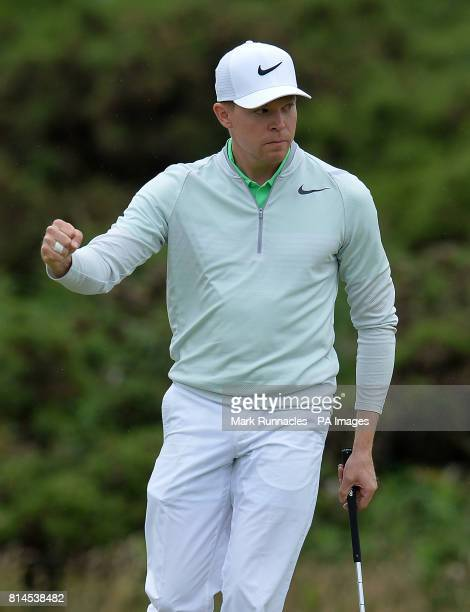 Germany's Alexander Knappe reacts after holing out for birdie at the 18th hole uring day two of the 2017 Aberdeen Asset Management Scottish Open at...