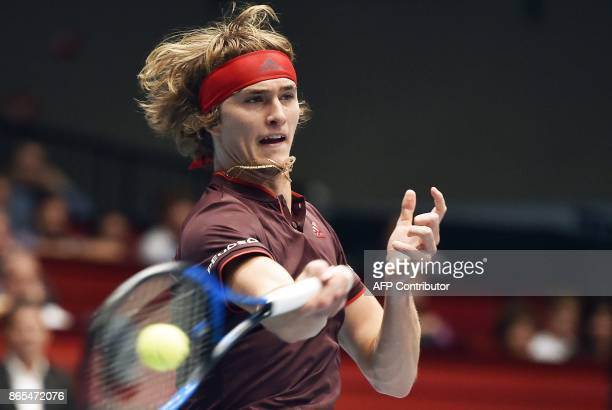 Germany's Alexander Zverev plays against Serbia's Viktor Troicki in their first round match of men's singles during the ATP tournament in Vienna...