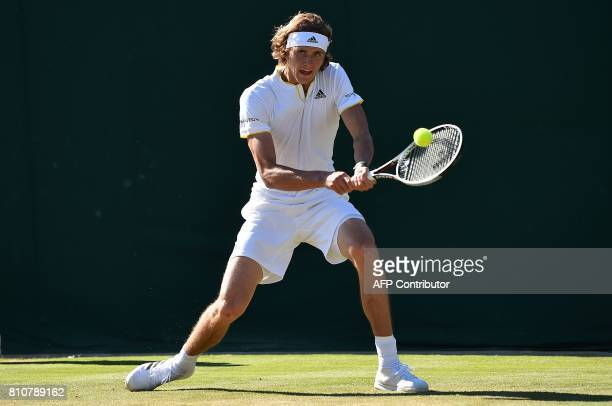 Germany's Alexander Zverev returns against Austria's Sebastian Ofner during their men's singles third round match on the sixth day of the 2017...