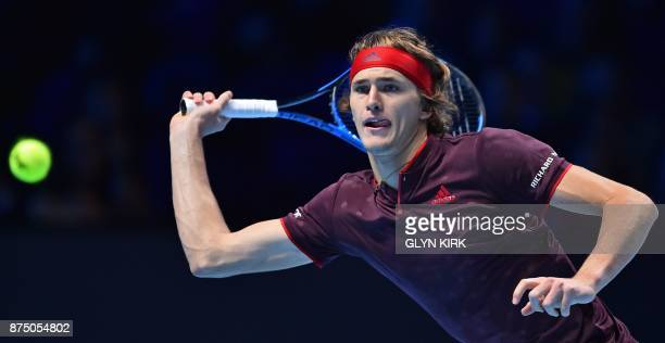 Germany's Alexander Zverev returns to US player Jack Sock during their men's singles roundrobin match on day five of the ATP World Tour Finals tennis...