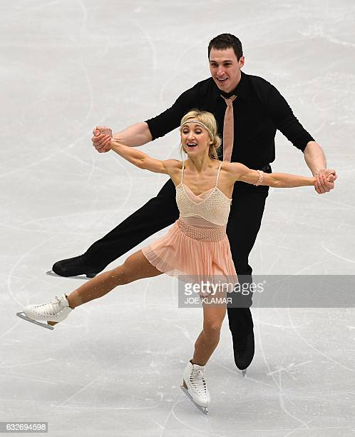 Germany's Aliona Savchenko and Bruno Massot compete during the pairs free short program of the European Figure Skating Championship in Ostrava on...