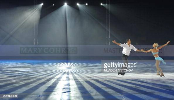 Germany's Aliona Savchenko and Robin Szolkowy performs an exhibition program at the Dom Sportova Arena in Zagreb 27 January 2008 during the gala of...