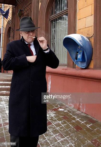 Germany's ambassador to Belarus Christof Weil leaves the French embassy in Minsk on February 29 after his meeting with other European diplomats there...
