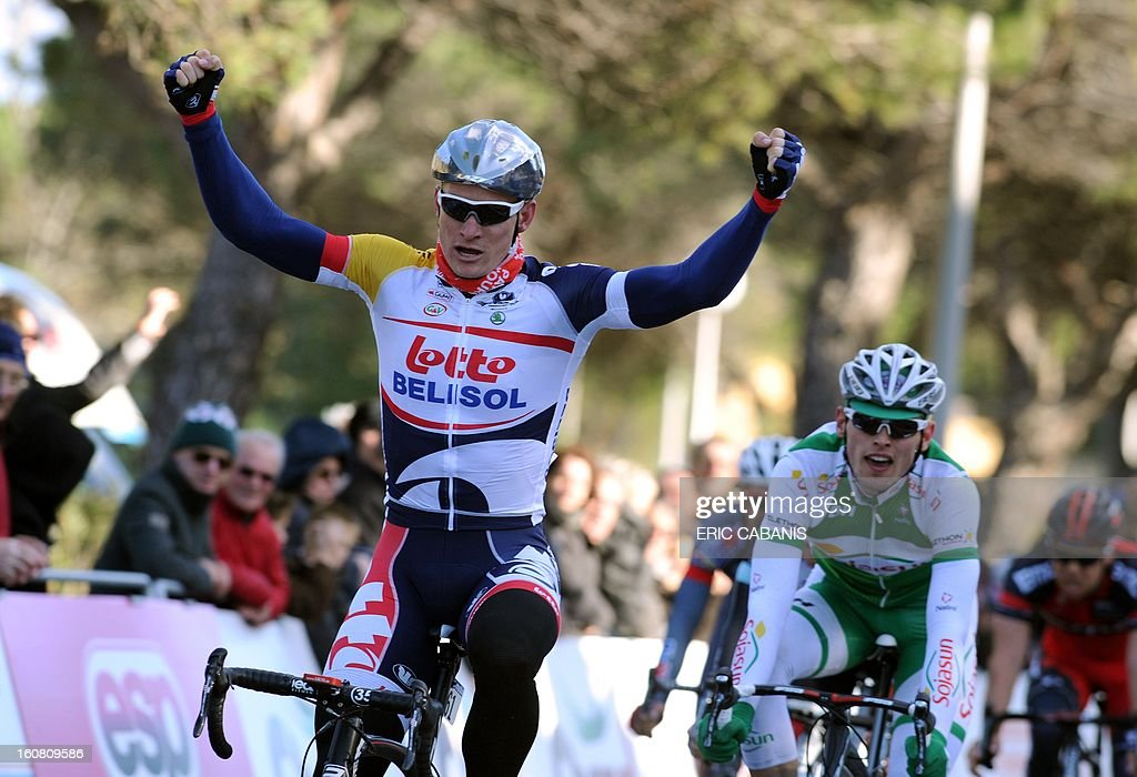 Germany's Andre Greipel (Lotto Belisol) crosses the finish line on February 6, 2013 to win the first stage of the 40th edition of the Tour Mediterraneen between Limoux and Gruissan in Gruissan, southern France.