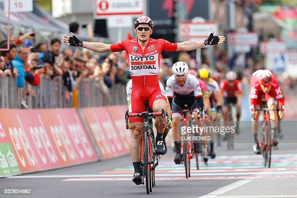 Germany's Andre Greipel of team Lotto Soudal celebrates as he crosses the finish line to win the 12th stage of the 99th Giro d'Italia Tour of Italy...