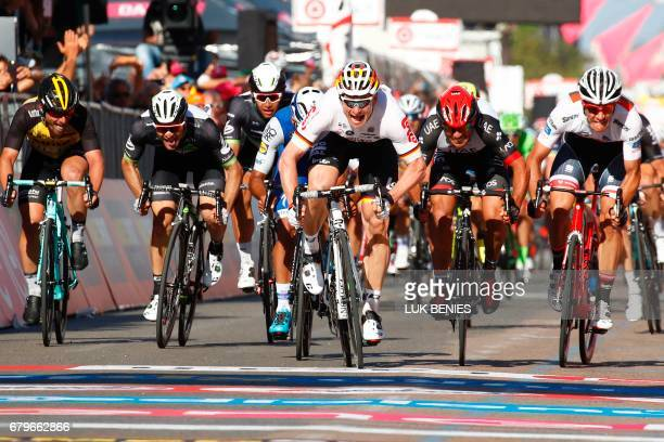 Germany's Andre Greipel of team LottoSoudal sprints to win the second stage of the 100th Giro d'Italia Tour of Italy cycling race from Olbia to...