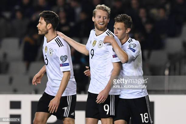 Germany's Andre Schuerrle celebrates after scoring a goal during the FIFA World Cup 2018 qualification football match between Azerbaijan and Germany...