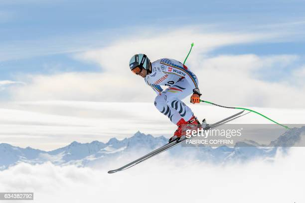 TOPSHOT Germany's Andreas Sander takes part in a training session of the men's downhill race at the 2017 FIS Alpine World Ski Championships in St...