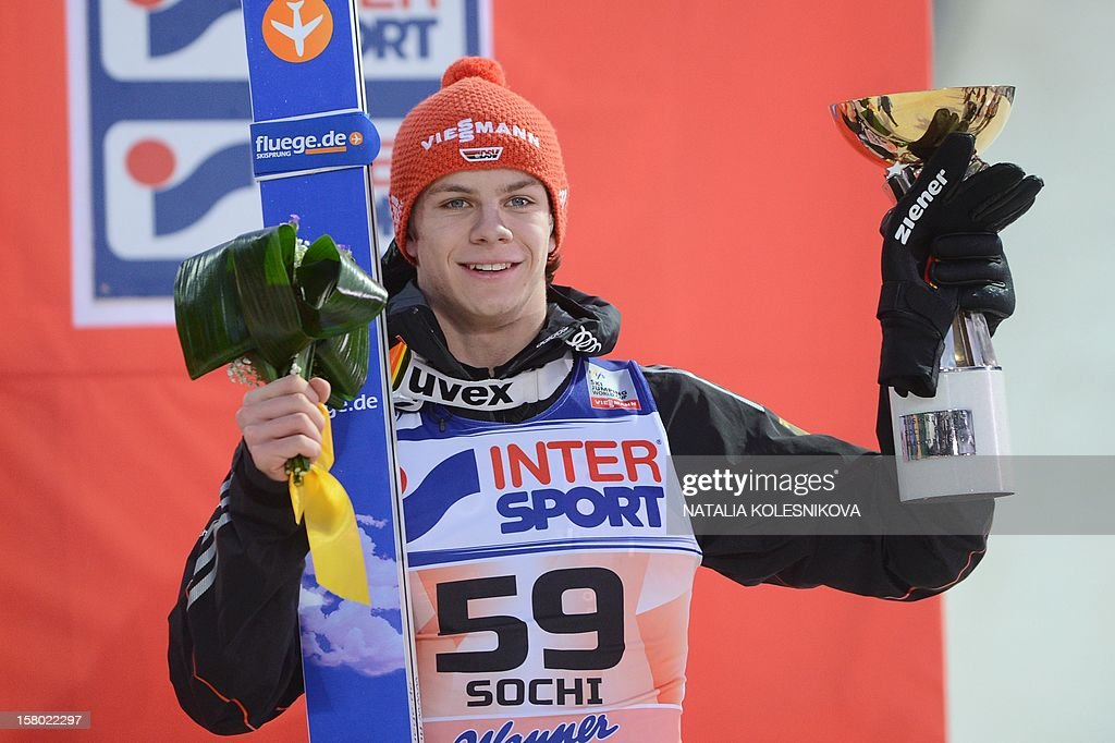 Germany's Andreas Wellinger celebrates after the men's normal hill individual at the FIS Ski Jumping World Cup tournament in Sochi on December 9, 2012. Wellinger took the third place.