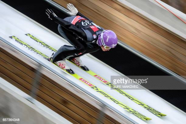 Germany's Andreas Wellinger competes during the FIS Ski Jumping World Cup Flying Hill Individial Competition on March 24 2017 in Planica / AFP PHOTO...