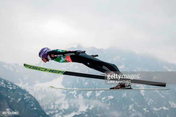 Germany's Andreas Wellinger competes during the FIS Ski Jumping World Cup Flying Hill Individual men's competition on March 26 2017 in Planica / AFP...