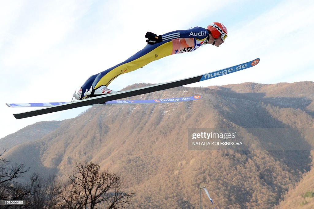 Germany's Andreas Wellinger jumps during the men's normal hill individual at the FIS Ski Jumping World Cup tournament in Sochi on December 9, 2012. Wellinger took the third place.