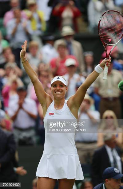Germany's Angelique Kerber celebrates defeating Russia's Maria Sharapova