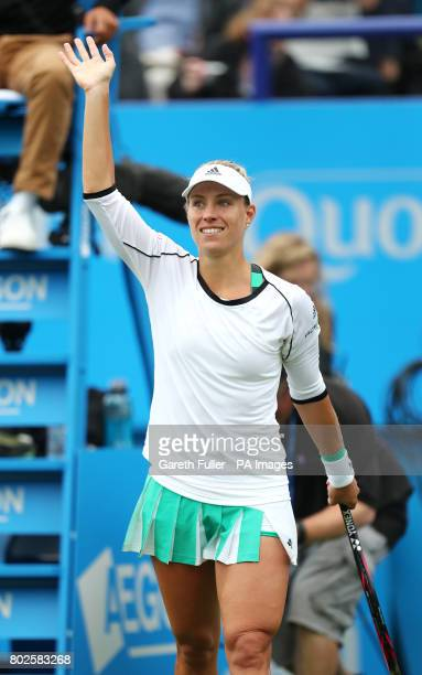Germany's Angelique Kerber celebrates victory against Czech Republic's Kristyna Pliskova during day six of the AEGON International at Devonshire Park...