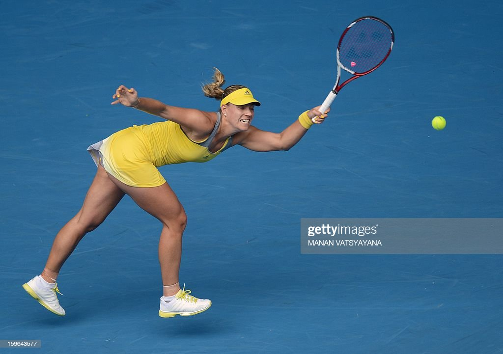 Germany's Angelique Kerber hits a return against Madison Keys of the US during their women's singles match on day five of the Australian Open tennis tournament in Melbourne on January 18, 2013.