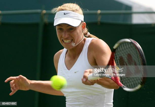 Germany's Angelique Kerber in action against Great Britain's Elena Baltacha during the Wimbledon Championships 2008 at the All England Tennis Club in...